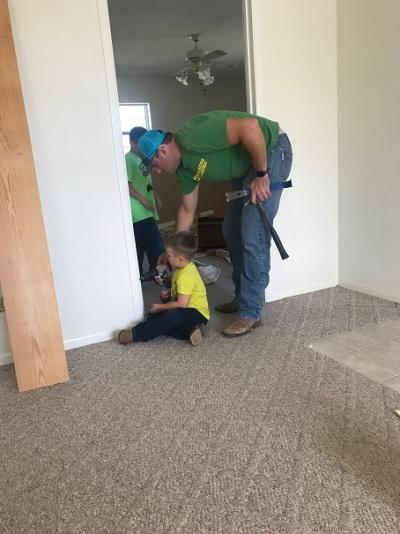 demo day 1 door trim boys working together